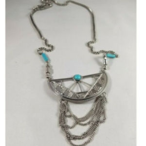 Boho Silver Tone Faux Turquoise Chain Box Necklace